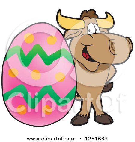 Clipart of a Happy Bull School Mascot Character Standing with a Giant Easter Egg - Royalty Free Vector Illustration by Toons4Biz