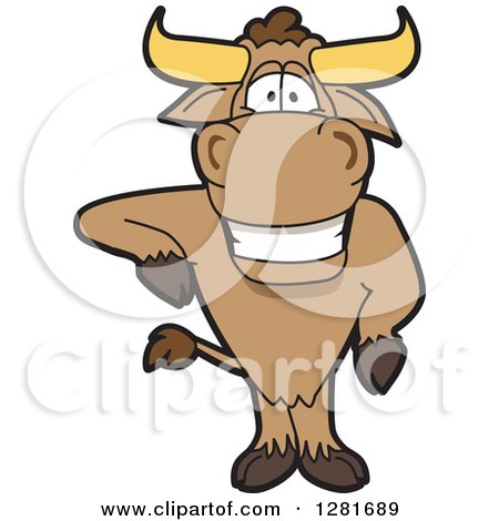 Clipart of a Happy Bull School Mascot Character Standing and Leaning - Royalty Free Vector Illustration by Toons4Biz