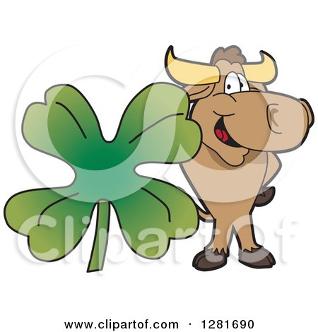 Clipart of a Happy Bull School Mascot Character Standing with a Giant Four Leaf St Patricks Day Clover Shamrock - Royalty Free Vector Illustration by Toons4Biz