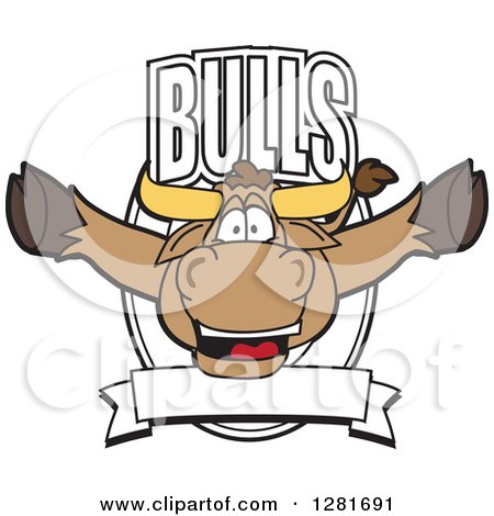 Clipart of a Happy Bull School Mascot Character Leaping out of a Shield and Banner - Royalty Free Vector Illustration by Toons4Biz