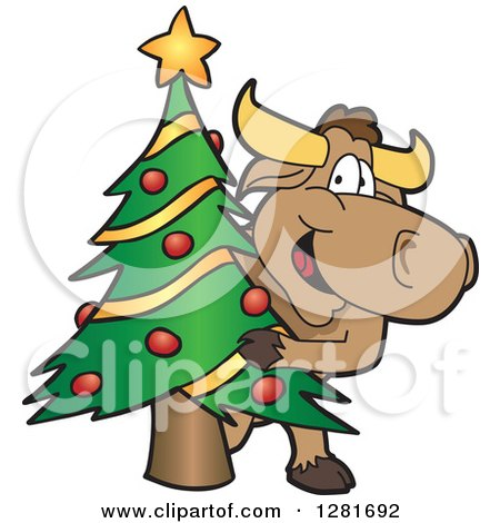 Clipart of a Happy Bull School Mascot Character Standing and Looking Around a Christmas Tree - Royalty Free Vector Illustration by Toons4Biz