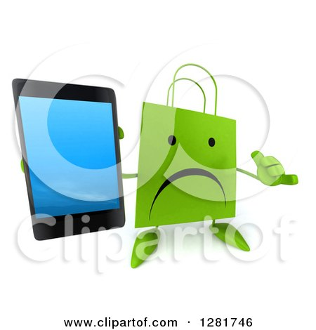Clipart of a 3d Unhappy Green Shopping or Gift Bag Character Gesturing Call Me and Holding up a Smart Cell Phone - Royalty Free Illustration by Julos