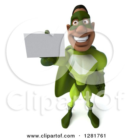 Clipart of a 3d Male Black Super Hero in Green, Holding up a Business Card - Royalty Free Vector Illustration by Julos