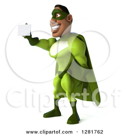 Clipart of a 3d Male Black Super Hero in Green, Facing Left and Holding out a Business Card - Royalty Free Vector Illustration by Julos