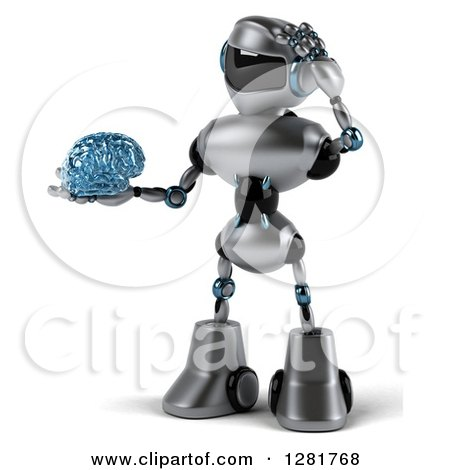 Clipart of a 3d Silver Male Techno Robot Holding a Blue Glass Brain and Scratching His Head - Royalty Free Illustration by Julos