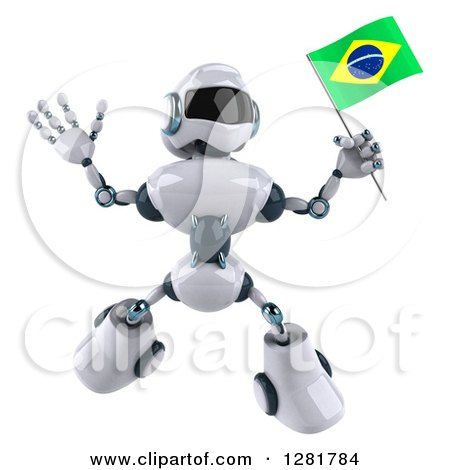 Clipart of a 3d White and Blue Robot Jumping and Holding a Brazilian Flag - Royalty Free Illustration by Julos