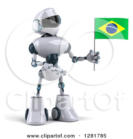 Clipart of a 3d White and Blue Robot Holding and Presenting a Brazilian Flag - Royalty Free Illustration by Julos