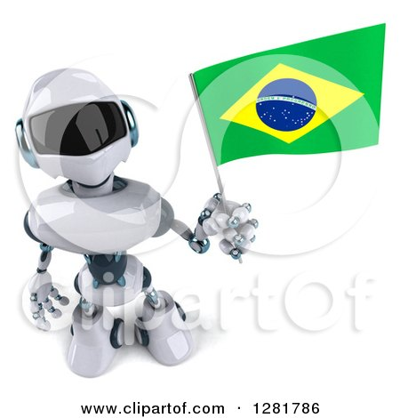 Clipart of a 3d White and Blue Robot Looking up and Holding a Brazilian Flag - Royalty Free Illustration by Julos