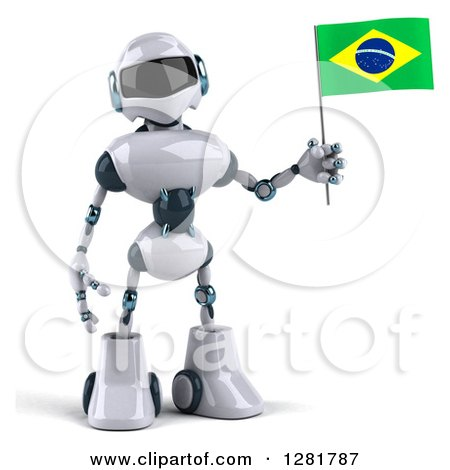 Clipart of a 3d White and Blue Robot Standing and Holding a Brazilian Flag - Royalty Free Illustration by Julos