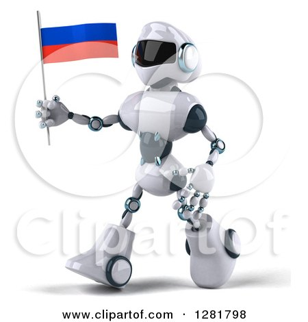 Clipart of a 3d White and Blue Robot Walking to the Left and Holding a Russian Flag - Royalty Free Illustration by Julos