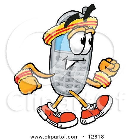 Clipart Picture of a Wireless Cellular Telephone Mascot Cartoon Character Speed Walking or Jogging by Toons4Biz
