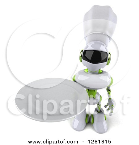 Clipart of a 3d White and Green Robot Chef Holding up a Plate - Royalty Free Illustration by Julos