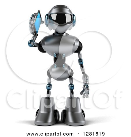 Clipart of a 3d Silver Male Techno Robot Talking on a Smart Phone - Royalty Free Illustration by Julos