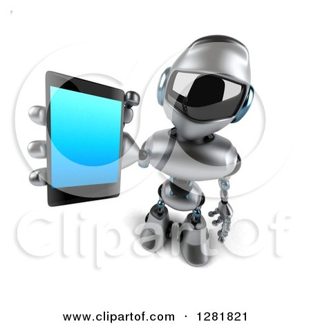 Clipart of a 3d Silver Male Techno Robot Holding up a Smart Phone - Royalty Free Illustration by Julos