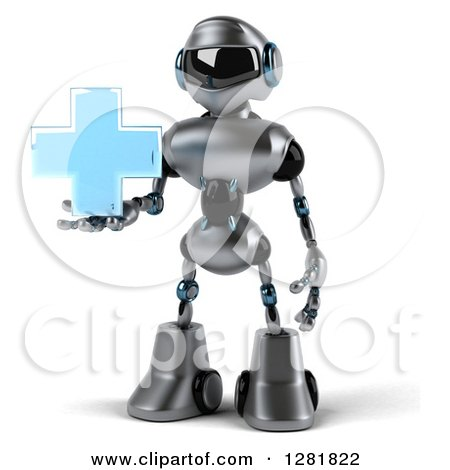 Clipart of a 3d Silver Male Techno Robot Holding a Blue Cross - Royalty Free Illustration by Julos