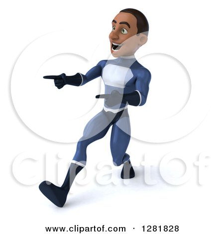 Clipart of a 3d Encouraging Young Black Male Super Hero in a Blue Suit, Walking and Pointing - Royalty Free Vector Illustration by Julos