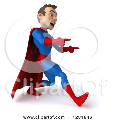 Clipart of a 3d Encouraging Young Brunette White Male Super Hero in a Blue and Red Suit, Walking and Pointing - Royalty Free Vector Illustration by Julos