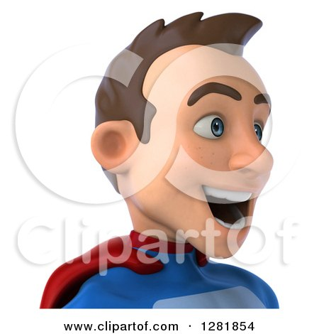 Clipart of a 3d Happy Young Brunette White Male Super Hero in a Blue and Red Suit, Facing Right, from the Shoulders up - Royalty Free Vector Illustration by Julos