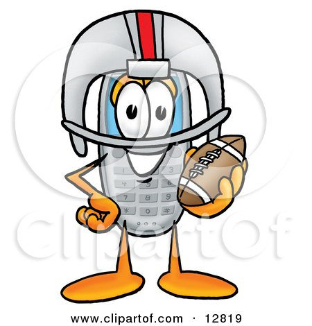 Clipart Picture of a Wireless Cellular Telephone Mascot Cartoon Character in a Helmet, Holding a Football by Toons4Biz