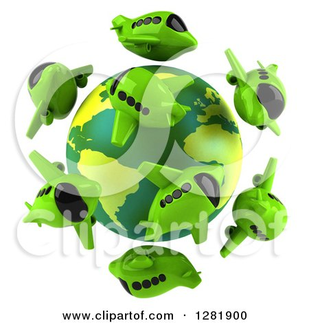 Clipart of a 3d Globe Surrounded by Green Airplanes - Royalty Free Illustration by Julos