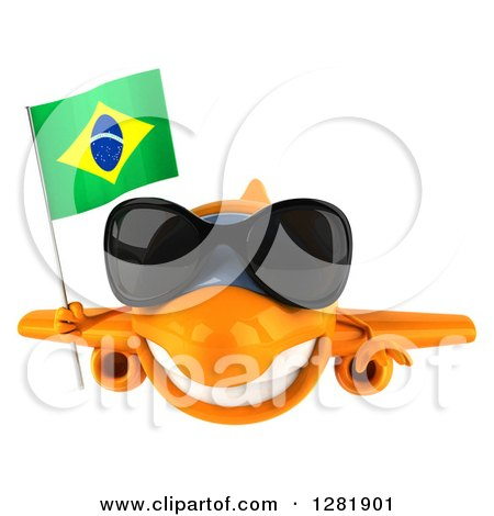Clipart of a 3d Happy Orange Airplane Wearing Sunglasses and Flying with a Brazilian Flag - Royalty Free Illustration by Julos