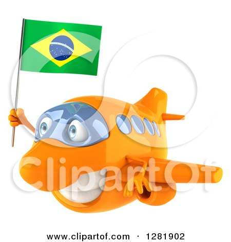 Clipart of a 3d Happy Orange Airplane Flying to the Left with a Brazilian Flag - Royalty Free Illustration by Julos