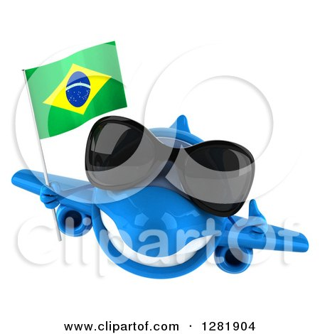 Clipart of a 3d Happy Blue Airplane Wearing Sunglasses, Holding a Thumb up and Flying with a Brazilian Flag - Royalty Free Illustration by Julos