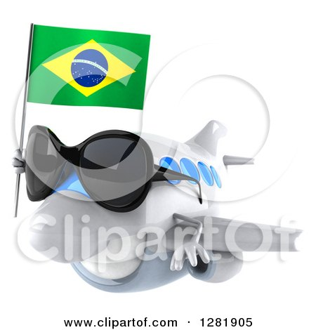 Clipart of a 3d Happy White Airplane Wearing Sunglasses and Flying to the Left with a Brazilian Flag - Royalty Free Illustration by Julos