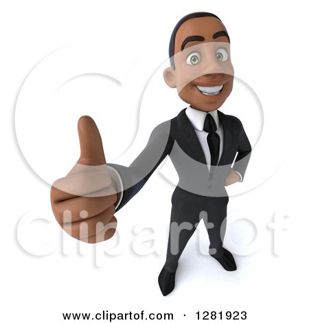 Clipart of a 3d Young Black Businessman Holding up a Thumb - Royalty Free Vector Illustration by Julos