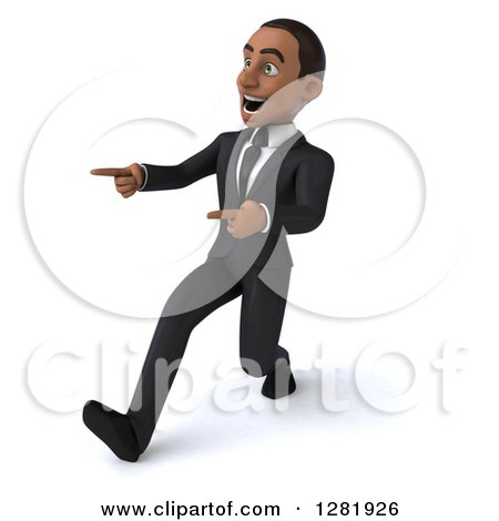 Clipart of a 3d Encouraging Young Black Businessman Walking and Pointing to the Left - Royalty Free Vector Illustration by Julos