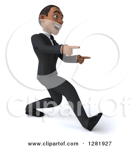 Clipart of a 3d Encouraging Young Black Businessman Walking and Pointing to the Right - Royalty Free Vector Illustration by Julos