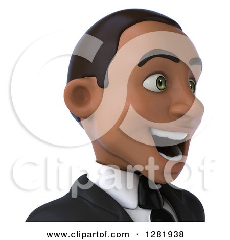 Clipart of a 3d Young Black Businessman Facing Right from the Shoulders up - Royalty Free Vector Illustration by Julos