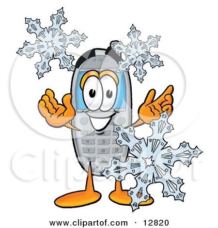 Clipart Picture of a Wireless Cellular Telephone Mascot Cartoon Character With Three Snowflakes in Winter by Toons4Biz