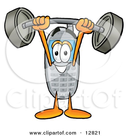 Clipart Picture of a Wireless Cellular Telephone Mascot Cartoon Character Holding a Heavy Barbell Above His Head by Toons4Biz