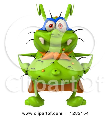 Clipart Of A 3d Green Germ Super Hero Royalty Free Vector Illustration