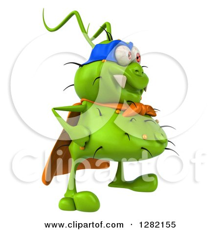 Clipart of a 3d Green Germ Super Hero Facing Right - Royalty Free Vector Illustration by Julos