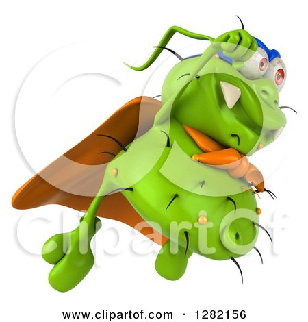 Clipart of a 3d Green Germ Super Hero Flying to the Right - Royalty Free Vector Illustration by Julos