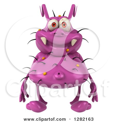 Clipart of a 3d Purple Germ Virus - Royalty Free Vector Illustration by Julos