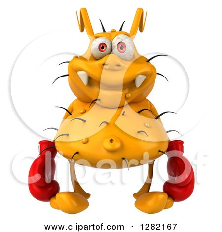 Clipart of a 3d Yellow Germ Virus Wearing Boxing Gloves - Royalty Free Vector Illustration by Julos