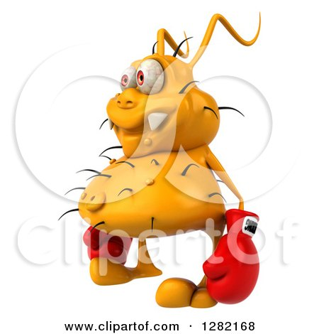 Clipart of a 3d Yellow Germ Virus Facing Left and Wearing Boxing Gloves - Royalty Free Vector Illustration by Julos