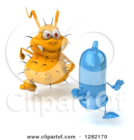 Clipart of a 3d Yellow Germ Chasing a Blue Condom to the Right - Royalty Free Vector Illustration by Julos