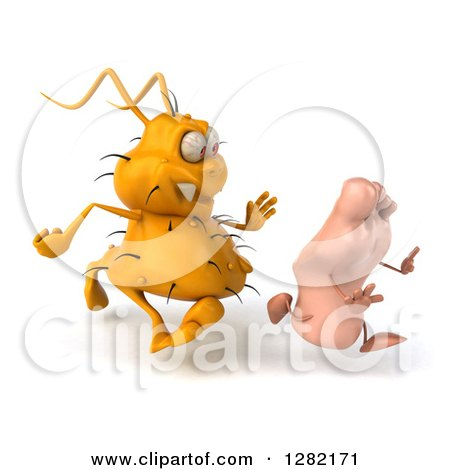 Clipart of a 3d Yellow Germ Virus Chasing a Foot to the Right - Royalty Free Vector Illustration by Julos