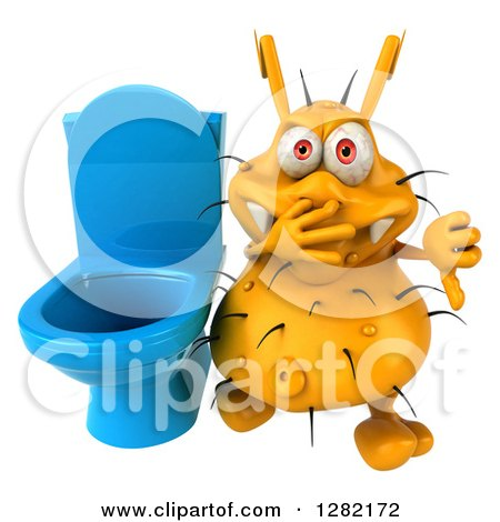 Clipart of a 3d Yellow Germ Virus Plugging His Nose and Holding a Thumb down by a Toilet - Royalty Free Vector Illustration by Julos