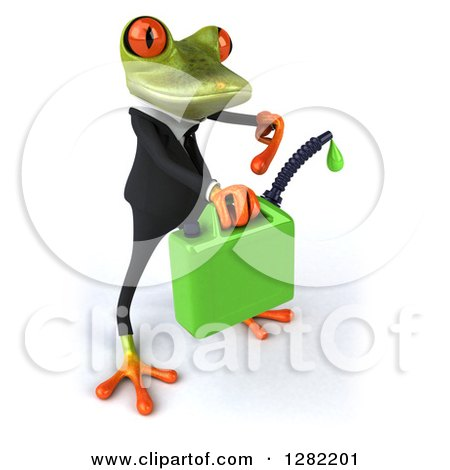 Clipart of a 3d Green Business Springer Frog Facing Right and Holding a Gas Can of Biofuel - Royalty Free Illustration by Julos