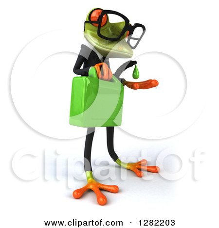 Clipart of a 3d Bespectacled Green Business Springer Frog Facing Right and Catching a Drop from a Gas Can of Biofuel - Royalty Free Illustration by Julos