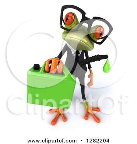 Clipart of a 3d Bespectacled Green Business Springer Frog Holding up a Gas Can of Biofuel - Royalty Free Illustration by Julos