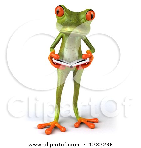 Clipart of a 3d Green Springer Frog Reading a Book - Royalty Free Illustration by Julos