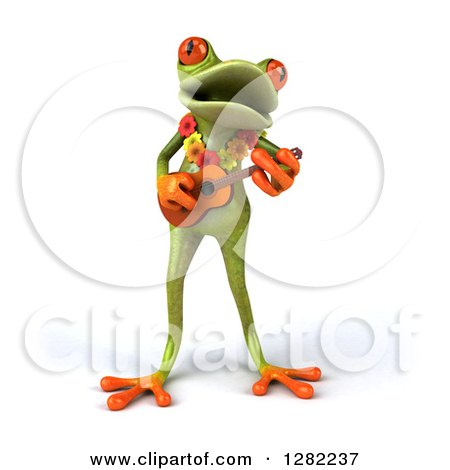 Clipart of a 3d Green Springer Frog Musician Wearing a Lei and Playing a Ukulele - Royalty Free Illustration by Julos