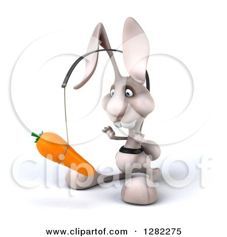 Clipart of a 3d White Bunny Rabbit Facing Slightly Left and Chasing a Carrot on a Stick - Royalty Free Illustration by Julos