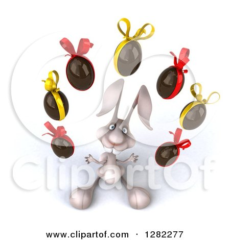 Clipart of a 3d White Bunny Rabbit Looking up and Juggling Chocolate Easter Eggs - Royalty Free Illustration by Julos